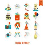 Happy Birthday Icons Set. Simple, Minimalistic and Flat Style. Colorful. Long Shadow. Vector Royalty Free Stock Photo