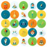Happy Birthday Icons Set. Simple, Minimalistic and Flat Style. Colorful. Long Shadow. Vector Stock Images