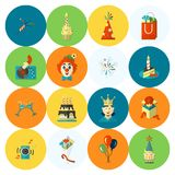 Happy Birthday Icons Set. Simple, Minimalistic and Flat Style. Colorful. Vector Stock Images