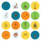 Happy Birthday Icons Set. Simple, Minimalistic and Flat Style. Colorful. Vector Royalty Free Stock Images