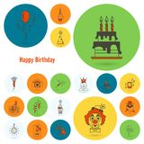 Happy Birthday Icons Set. Simple, Minimalistic and Flat Style. Colorful. Vector Royalty Free Stock Image