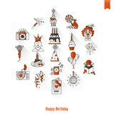 Happy Birthday Icons Set. Simple, Minimalistic and Flat Style. Long Shadow. Vector Royalty Free Stock Photography