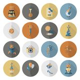 Happy Birthday Icons Set. Simple, Minimalistic and Flat Style. Retro Color. Long Shadow. Vector Royalty Free Stock Images