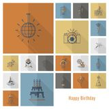 Happy Birthday Icons Set. Simple, Minimalistic and Flat Style. Retro Color. Long Shadow. Vector Royalty Free Stock Photo