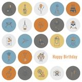 Happy Birthday Icons Set. Simple, Minimalistic and Flat Style. Retro Color. Vector Royalty Free Stock Photo
