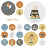 Happy Birthday Icons Set. Simple, Minimalistic and Flat Style. Retro Color. Vector Stock Photo