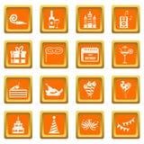 Happy Birthday icons set orange Stock Image