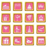 Happy Birthday icons pink. Happy Birthday icons set in pink color isolated vector illustration for web and any design royalty free illustration