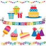Happy birthday icons set. Set of birthday icons on white background. Party and celebration design elements Royalty Free Stock Photography