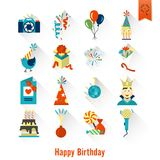 Happy Birthday Icons Set. Simple, Minimalistic and Flat Style. Colorful. Long Shadow. Vector Stock Photo