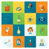 Happy Birthday Icons Set. Simple, Minimalistic and Flat Style. Colorful. Long Shadow. Vector Stock Photography