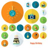 Happy Birthday Icons Set. Simple, Minimalistic and Flat Style. Colorful. Long Shadow. Vector Royalty Free Stock Photography