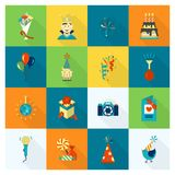 Happy Birthday Icons Set. Simple, Minimalistic and Flat Style. Colorful. Long Shadow. Vector Stock Photos