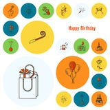 Happy Birthday Icons Set. Simple, Minimalistic and Flat Style. Colorful. Vector Stock Image