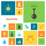 Happy Birthday Icons Set Royalty Free Stock Photos