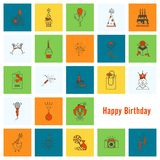 Happy Birthday Icons Set. Simple, Minimalistic and Flat Style. Colorful. Vector Royalty Free Stock Photo