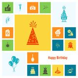 Happy Birthday Icons Set. Simple, Minimalistic and Flat Style. Colorful. Vector Stock Photo