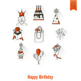Happy Birthday Icons Set Royalty Free Stock Images
