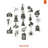 Happy Birthday Icons Set. Simple, Minimalistic and Flat Style. Long Shadow. Vector Royalty Free Stock Photo