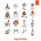 Happy Birthday Icons Set. Simple, Minimalistic and Flat Style. Long Shadow. Vector Stock Photography