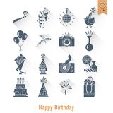 Happy Birthday Icons Set. Simple, Minimalistic and Flat Style. Long Shadow. Vector Stock Images