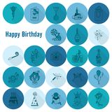 Happy Birthday Icons Set. Simple, Minimalistic and Flat Style. Monochrome color. Long Shadow. Vector Stock Images