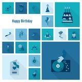 Happy Birthday Icons Set. Simple, Minimalistic and Flat Style. Monochrome color. Long Shadow. Vector Stock Photo