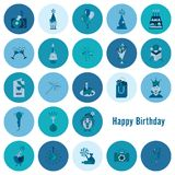 Happy Birthday Icons Set. Simple, Minimalistic and Flat Style. Monochrome color. Vector Stock Photography