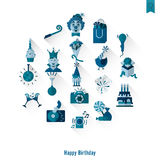 Happy Birthday Icons Set Royalty Free Stock Photo