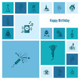 Happy Birthday Icons Set Royalty Free Stock Image