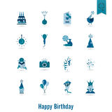 Happy Birthday Icons Set Stock Images