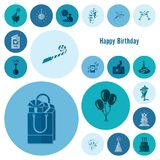 Happy Birthday Icons Set. Simple, Minimalistic and Flat Style. Monochrome color. Vector Stock Image