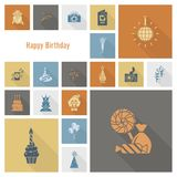 Happy Birthday Icons Set. Simple, Minimalistic and Flat Style. Retro Color. Long Shadow. Vector Stock Photos
