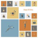 Happy Birthday Icons Set Stock Photography