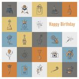 Happy Birthday Icons Set. Simple, Minimalistic and Flat Style. Retro Color. Vector Royalty Free Stock Image