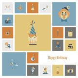 Happy Birthday Icons Set. Simple, Minimalistic and Flat Style. Retro Color. Vector Stock Photos