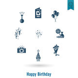 Happy Birthday Icons Set Stock Photo