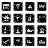Happy Birthday icons set, simple style Stock Image