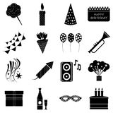 Happy birthday icons set, simple style Royalty Free Stock Photo