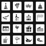 Happy Birthday icons set squares vector Stock Photo