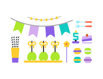 Happy Birthday icons set. Happy Birthday vector flat icons set Stock Photography