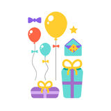 Happy Birthday icons set. Happy Birthday vector flat icons set Stock Images