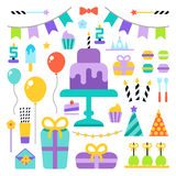 Happy Birthday icons set. Happy Birthday vector flat icons set Royalty Free Stock Images