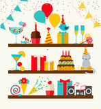 Happy Birthday icons set vector illustration
