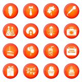 Happy birthday icons set red vector Stock Images