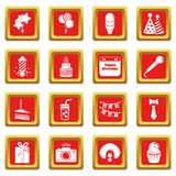 Happy birthday icons set red square vector Royalty Free Stock Photos