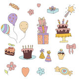 Happy birthday icons set. Set of birthday icons on white background. Party and celebration design elements. Set with birthday cake, balloons, gift and festive Royalty Free Stock Photos