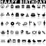 Happy birthday icons set. stock photo
