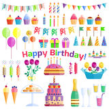 Happy Birthday icons vector set. Royalty Free Stock Image