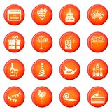 Happy Birthday icons vector set. Of red circles isolated on white background Royalty Free Stock Photos